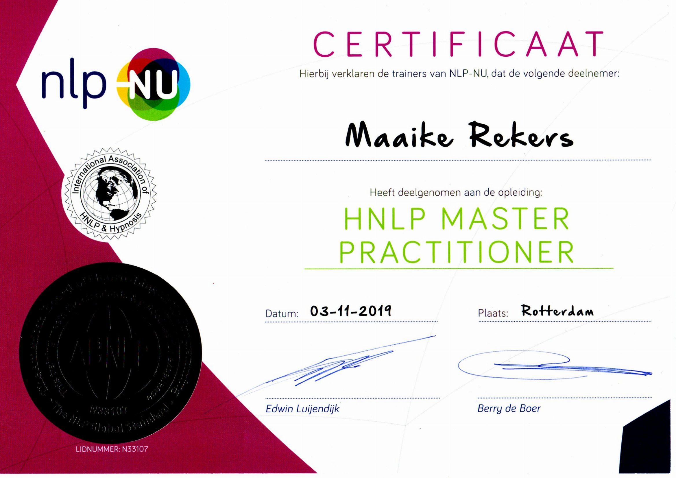 diploma-master nlp Maaike Rekers