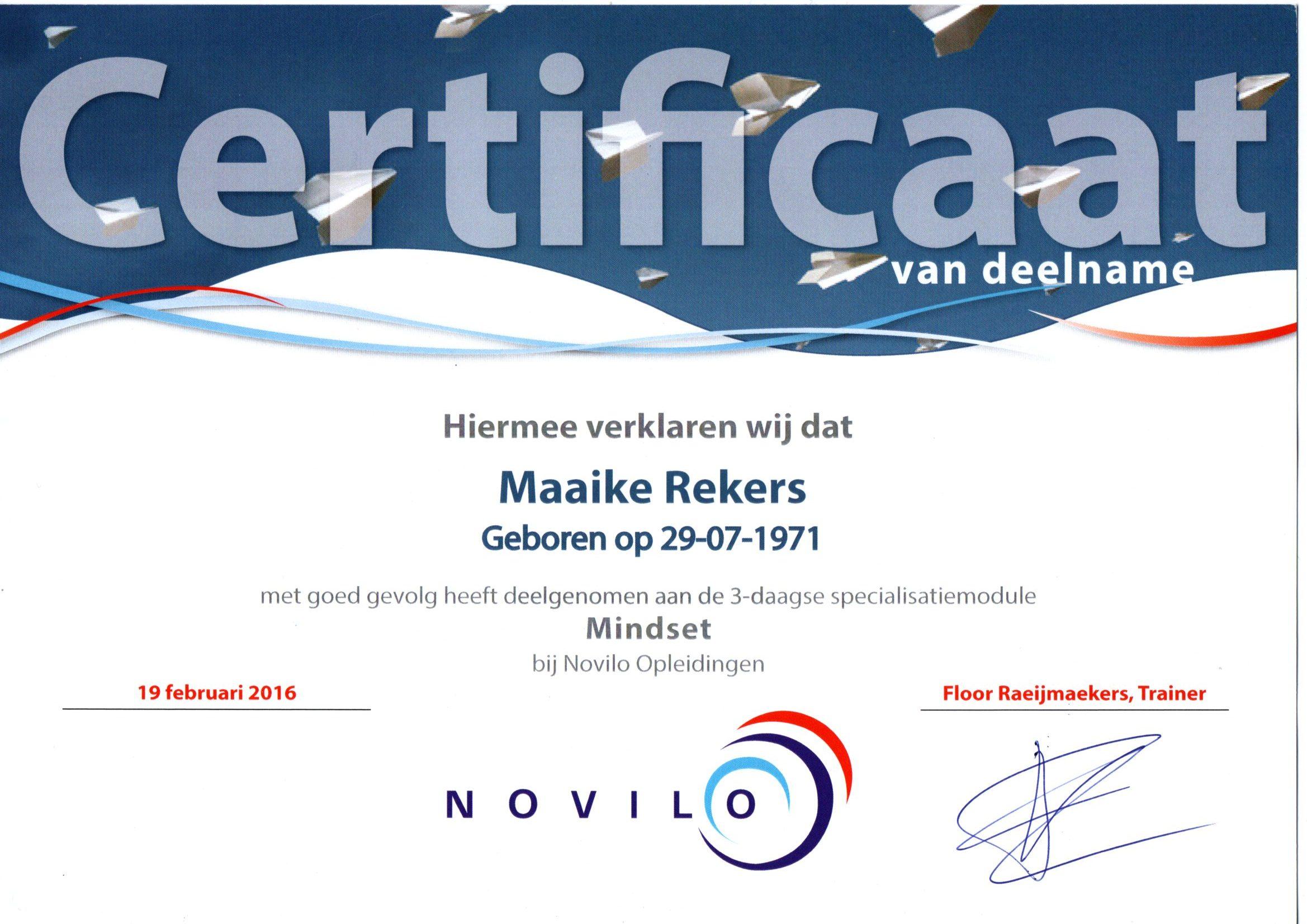 Novilo certificaat-mindset Maaike Rekers
