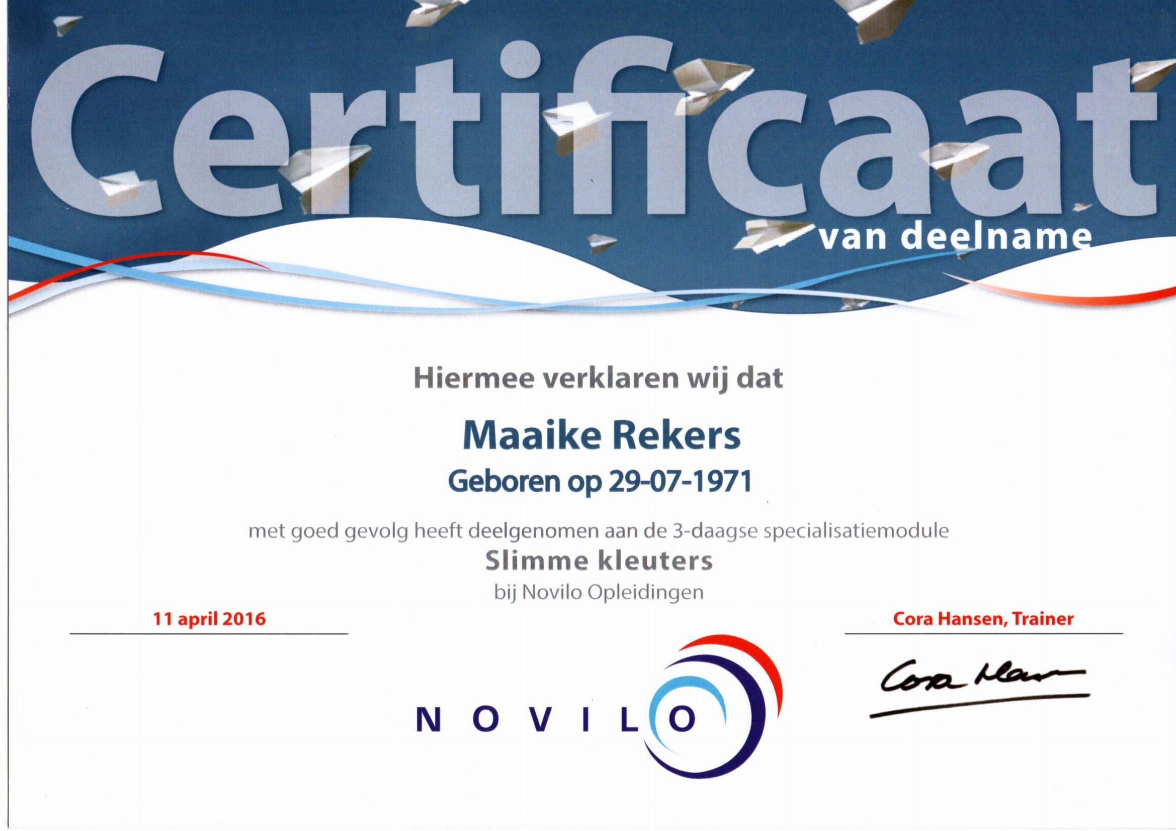 Novilo certificaat-slimme kleuters Maaike Rekers